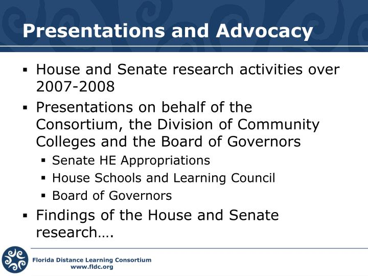 Presentations and Advocacy