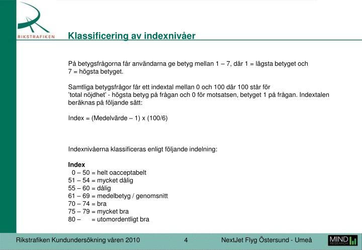 Klassificering av indexnivåer