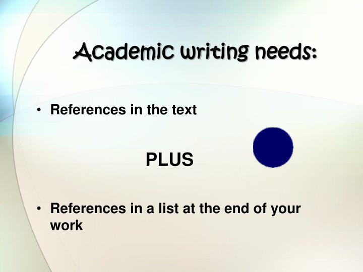 Academic writing needs: