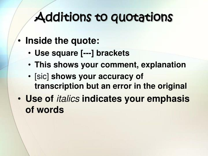 Additions to quotations