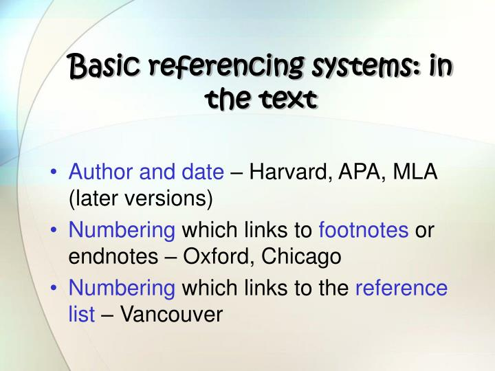 Basic referencing systems: in the text