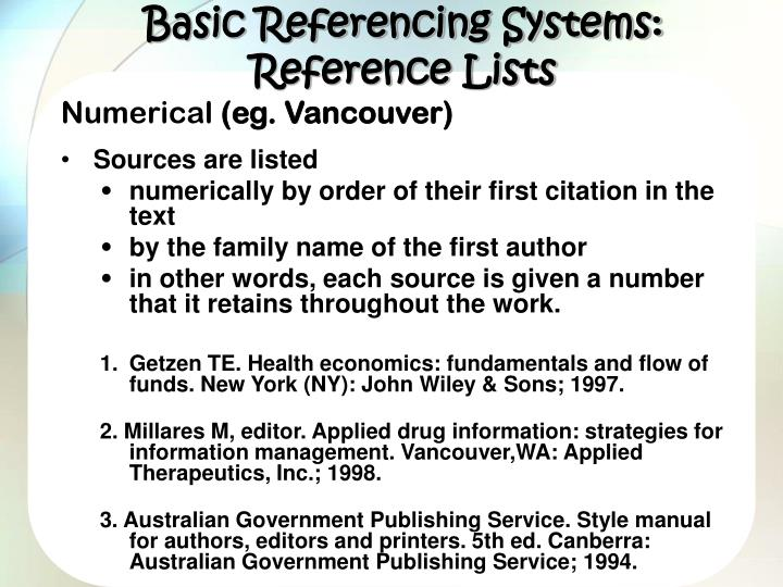 Basic Referencing Systems: Reference Lists
