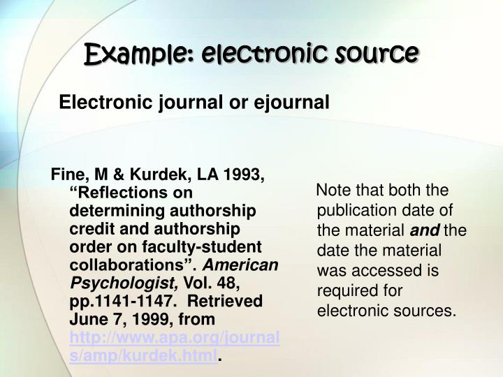 Example: electronic source