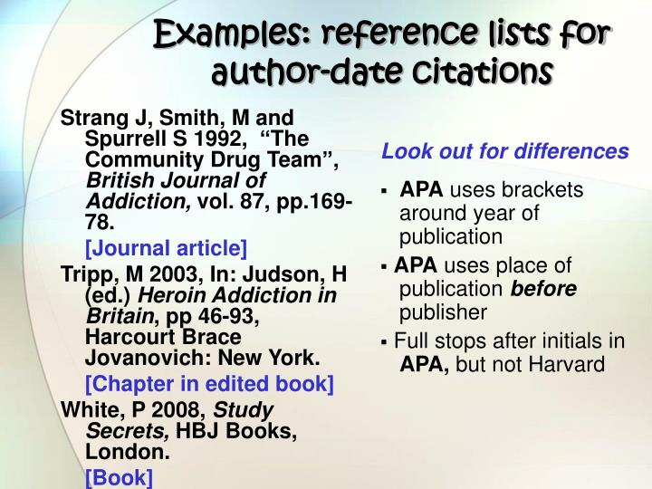 Examples: reference lists for author-date citations