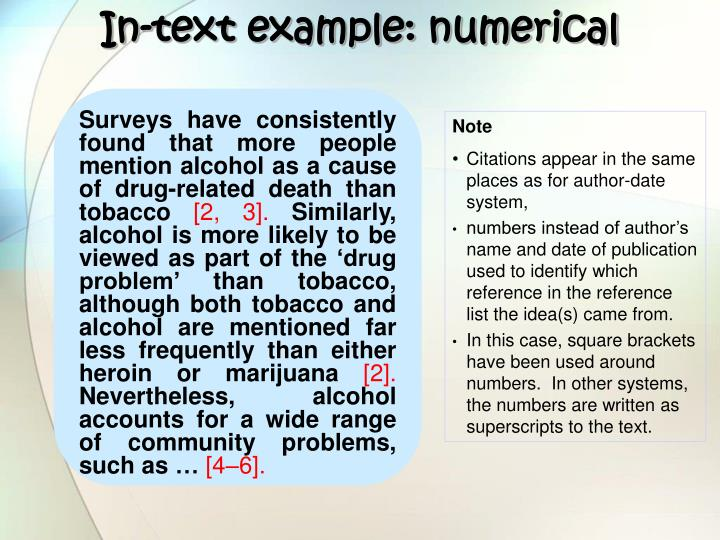 In-text example: numerical