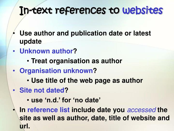 In-text references to