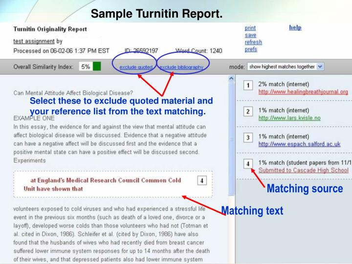 Select these to exclude quoted material and your reference list from the text matching.