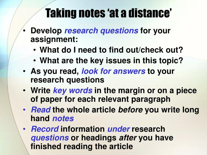 Taking notes 'at a distance'