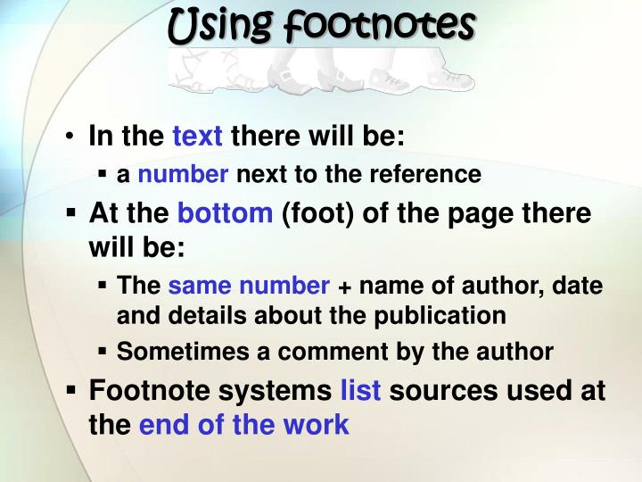 Using footnotes