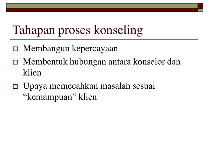 Tahapan proses konseling