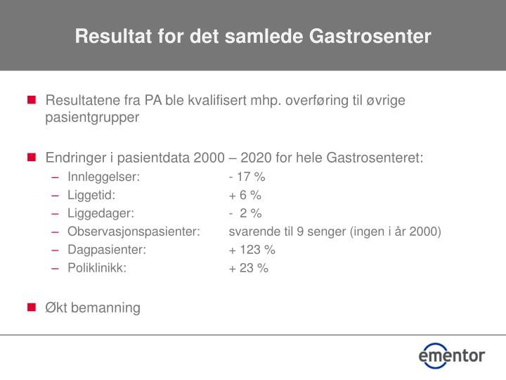 Resultat for det samlede Gastrosenter
