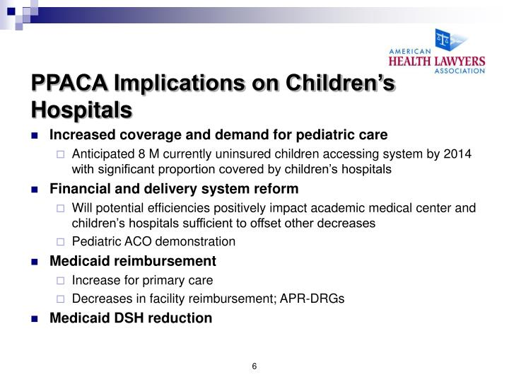 PPACA Implications on Children's Hospitals