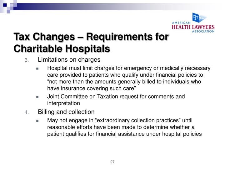 Tax Changes – Requirements for Charitable Hospitals