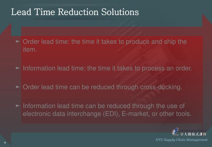 Lead Time Reduction Solutions