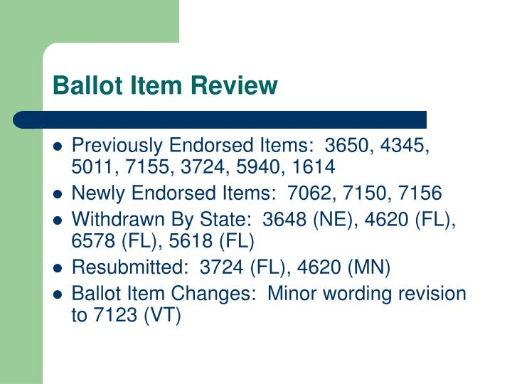 Ballot Item Review