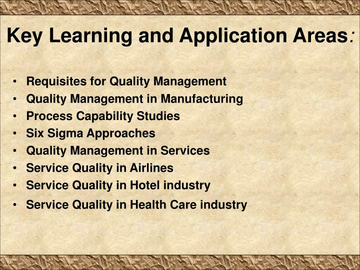 Key Learning and Application Areas