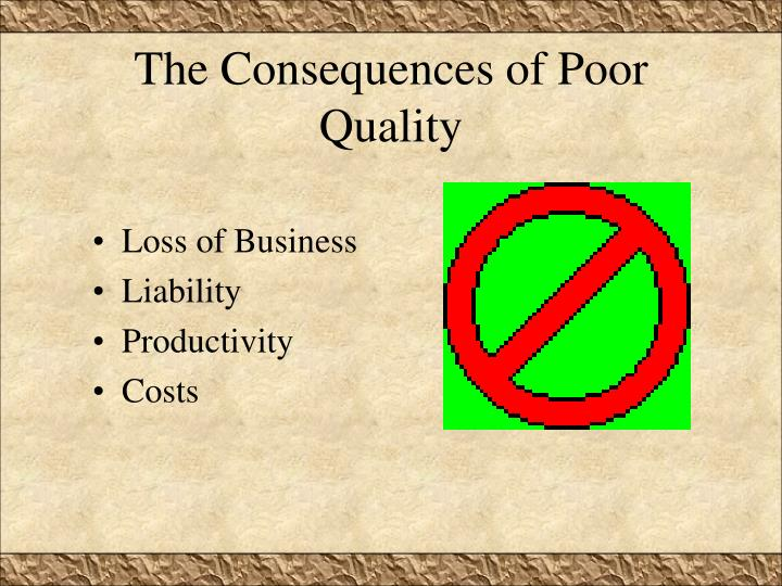 The Consequences of Poor Quality