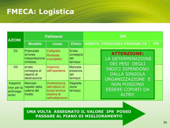 FMECA: Logistica