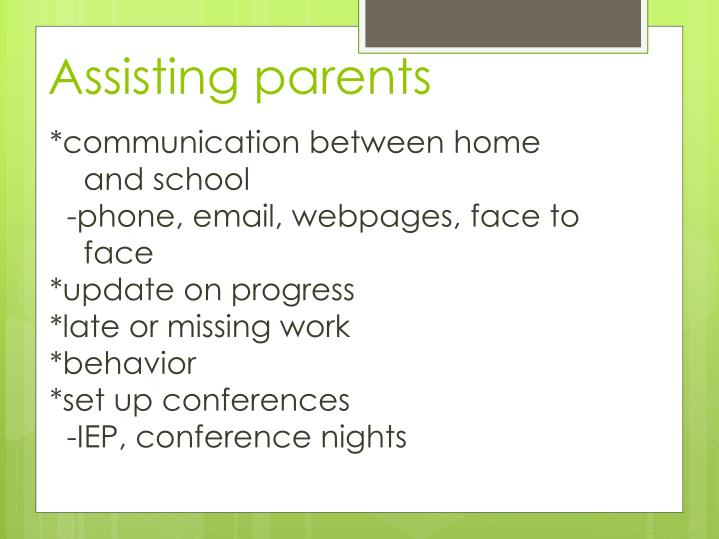 Assisting parents