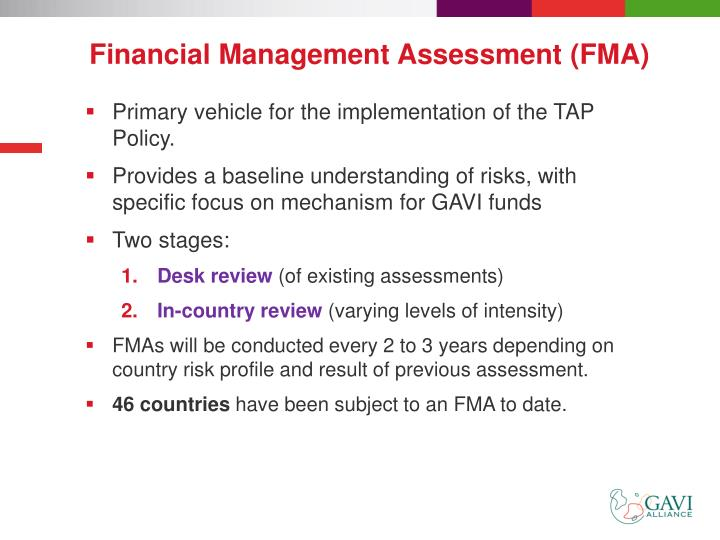 Financial Management Assessment (FMA)