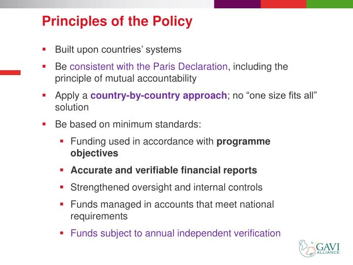 Principles of the Policy