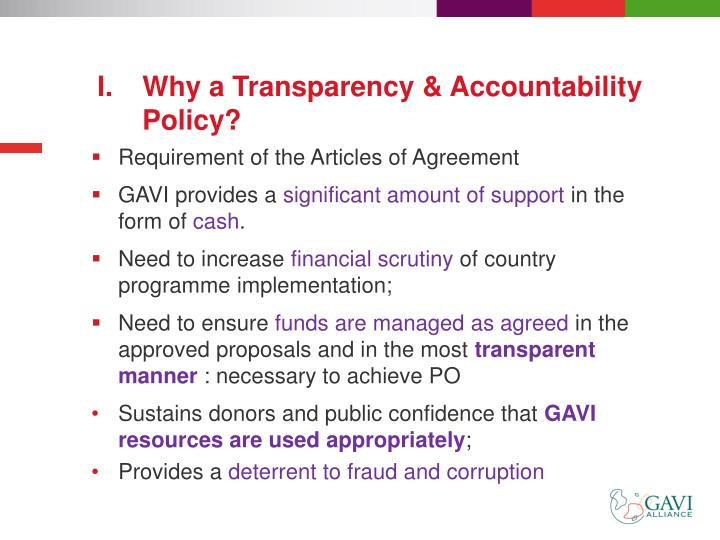 Why a Transparency & Accountability Policy?