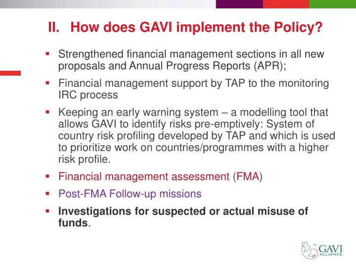 How does GAVI implement the Policy?