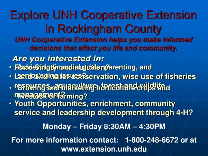 Explore UNH Cooperative Extension in Rockingham County