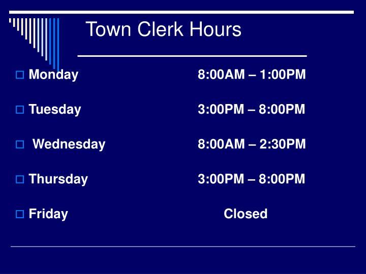 Town Clerk Hours