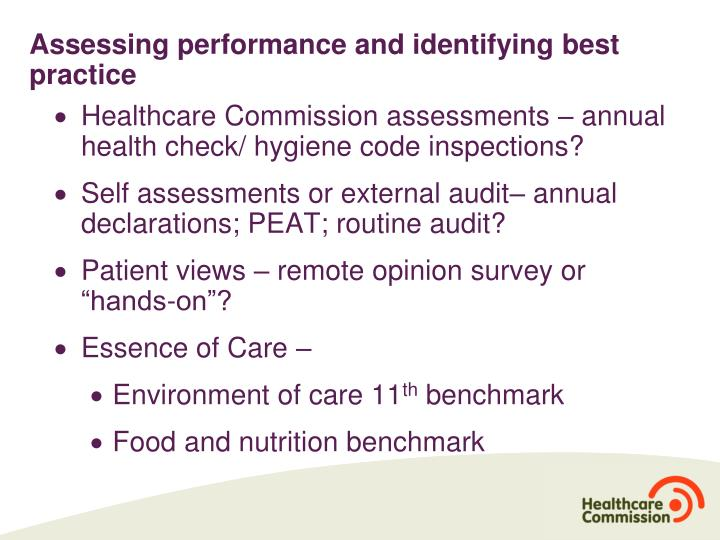 Assessing performance and identifying best practice