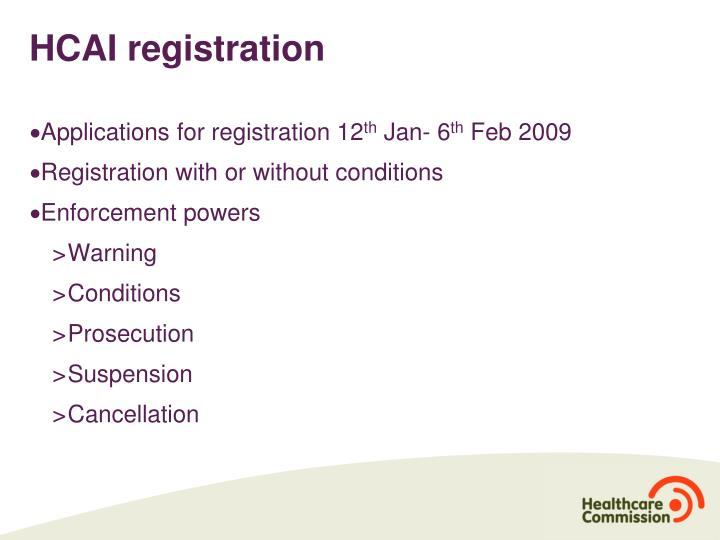 HCAI registration