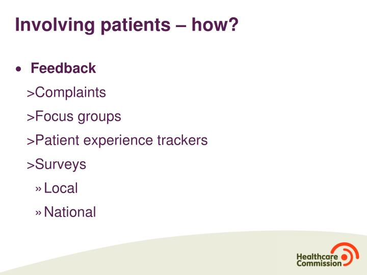 Involving patients – how?