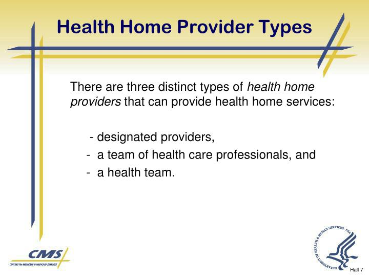 Health Home Provider Types