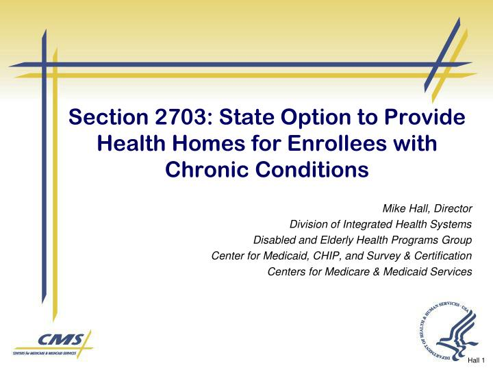 Section 2703 state option to provide health homes for enrollees with chronic conditions