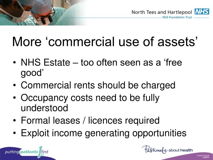More 'commercial use of assets'