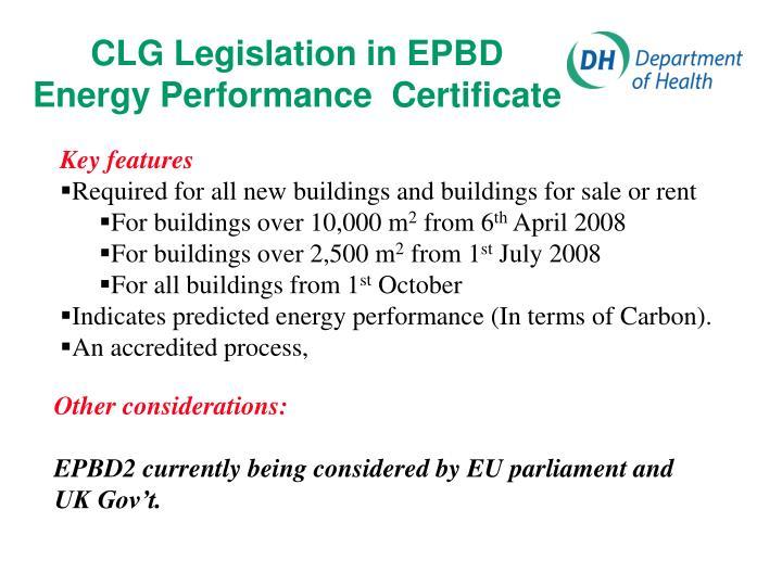CLG Legislation in EPBD