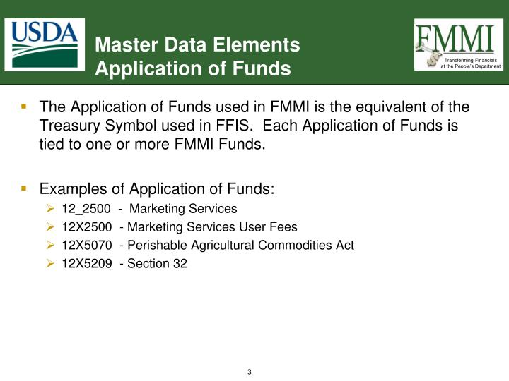 Master data elements application of funds