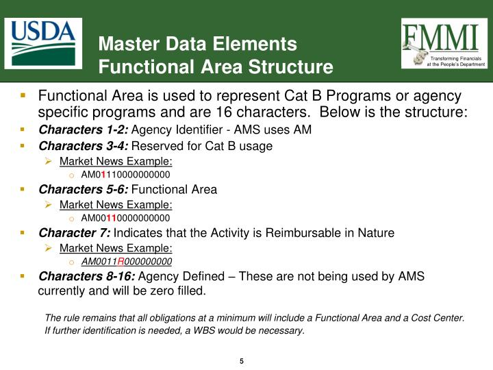 Functional Area is used to represent Cat B Programs or agency specific programs and are 16 characters.  Below is the structure: