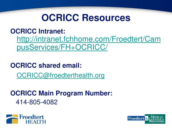 OCRICC Resources