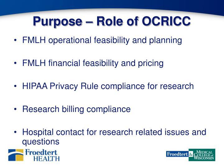 Purpose – Role of OCRICC