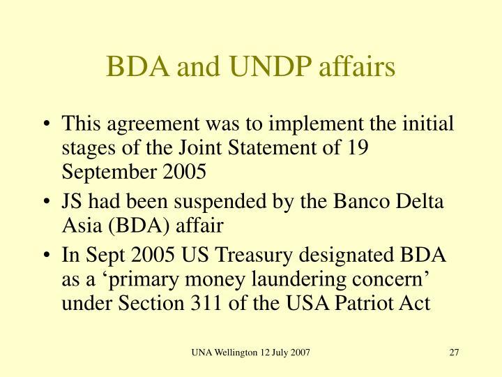 BDA and UNDP affairs