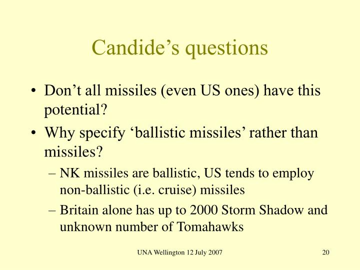 Candide's questions