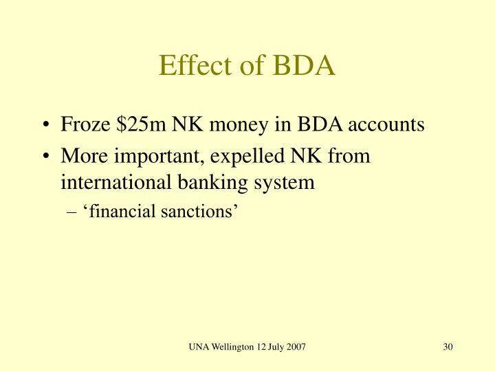 Effect of BDA