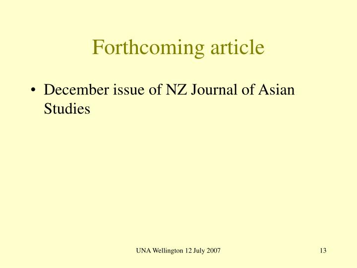 Forthcoming article