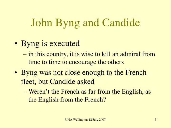 John Byng and Candide