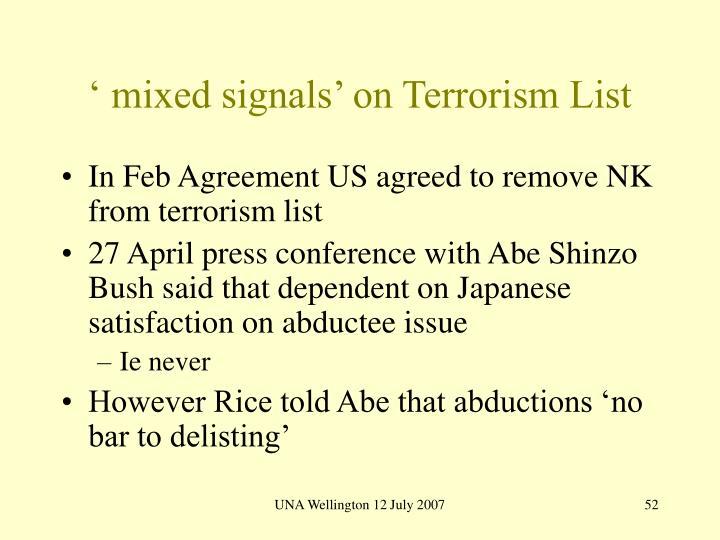 ' mixed signals' on Terrorism List