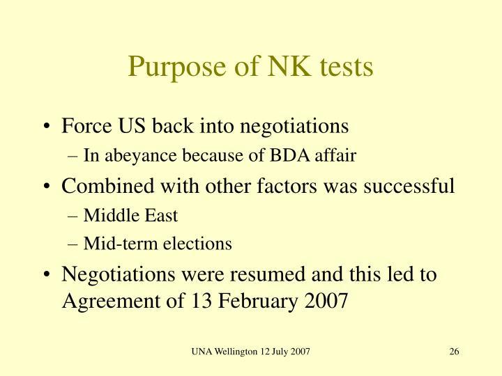Purpose of NK tests