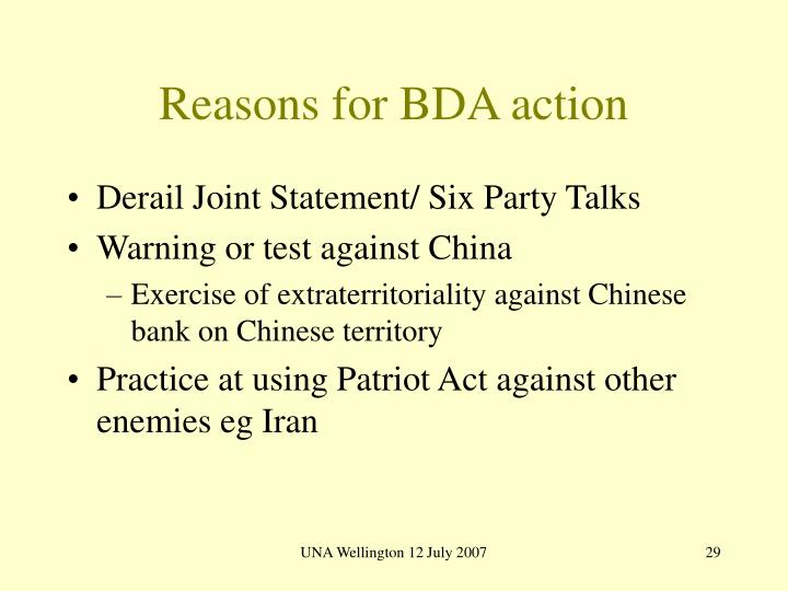 Reasons for BDA action
