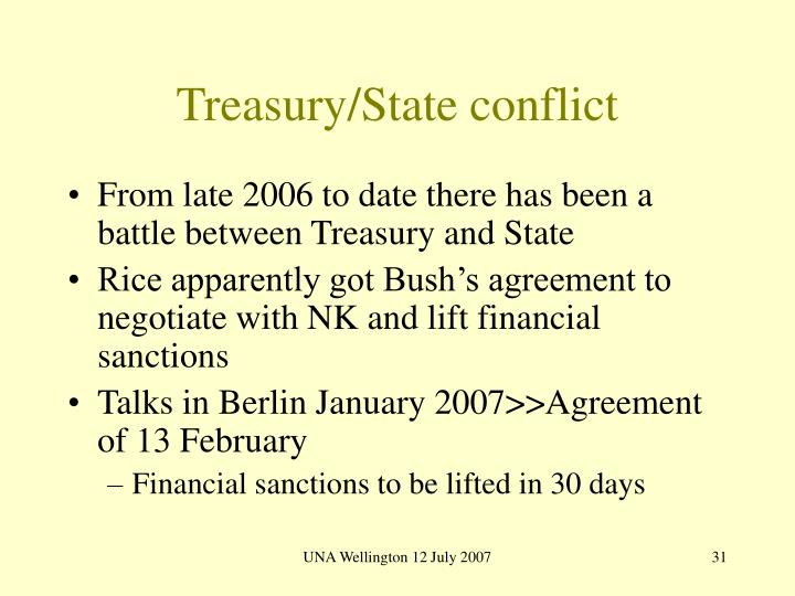 Treasury/State conflict
