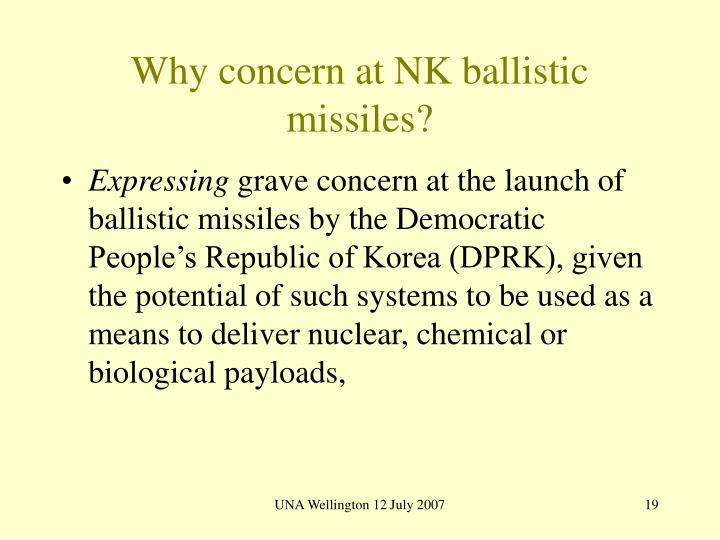 Why concern at NK ballistic missiles?